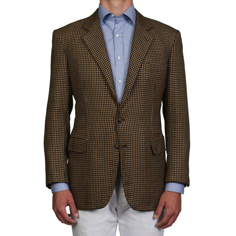"BRIONI For DINO ""TRAIANO"" Tan-Black Wool-Silk Jacket EU 54 US 44"