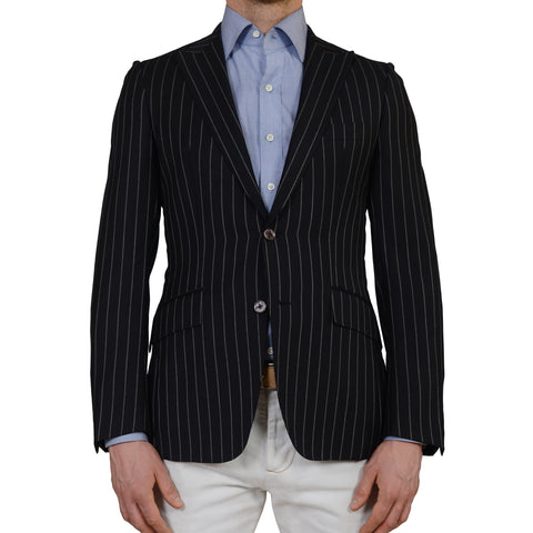 D'Avenza for BURDI Black Striped Wool Peak Lapel Blazer Jacket EU 48 NEW US 38