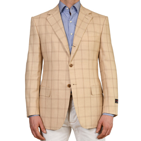 D'AVENZA Beige Herringbone Plaid Camelhair Linen Silk Blazer Jacket 52 NEW US 42