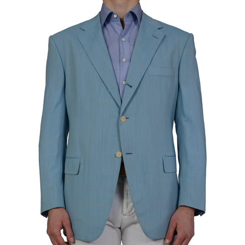 D'AVENZA Blue Windowpane Super 120's Blazer Jacket EU 56 NEW US 46