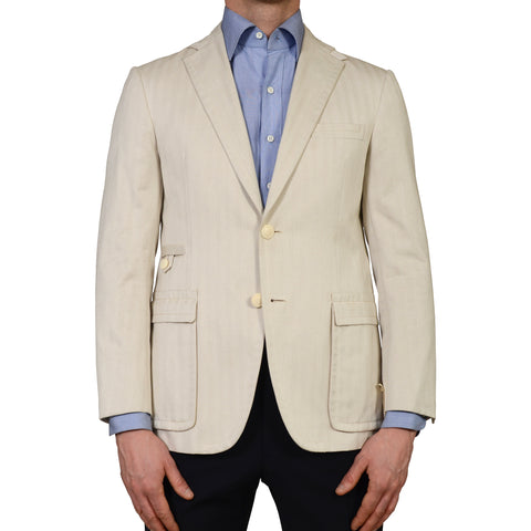"D'AVENZA ""Curzio"" Handmade Beige Herringbone Cotton Blazer Jacket 48 NEW US 38"