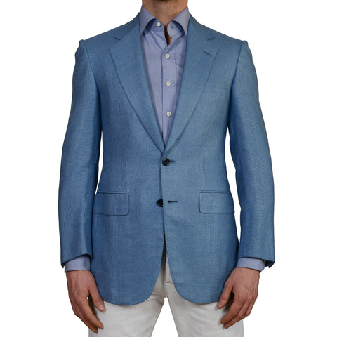 D'AVENZA For KRANTZ Handmade Blue Hopsack Silk Blazer Jacket EU 46 NEW US 36