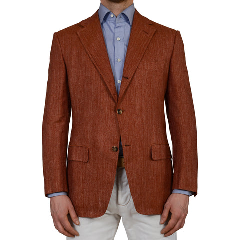 D'AVENZA For MIOZZI Handmade Rust Silk Linen Wool Blazer Jacket NEW