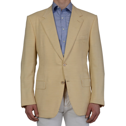 D'AVENZA For MR.SID Handmade Cream Cashmere Cotton Blazer Jacket EU 56 NEW US 46
