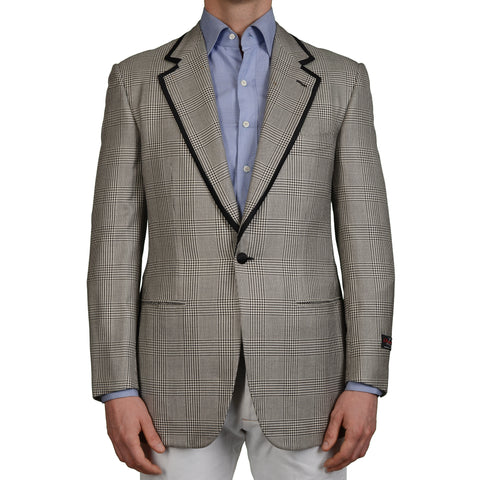 D'AVENZA Gray Glen Plaid Silk Wool Super 120's 1 Button Blazer Jacket 50 NEW 40