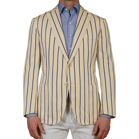 D'AVENZA Handmade Beige Striped Cotton Unlined Blazer Jacket EU 50 NEW US 40