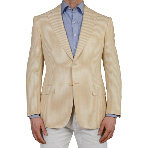 D'AVENZA Handmade Beige Striped Silk-Linen-Cashmere Blazer Jacket 50 NEW US 40