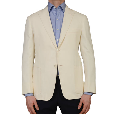 D'AVENZA Handmade Cream Cotton Silk Unlined Blazer Jacket EU 50 NEW US 40
