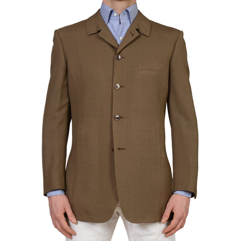 D'AVENZA Handmade Khaki Doppione Raw Silk 5 Button Jacket EU 50 NEW US 40