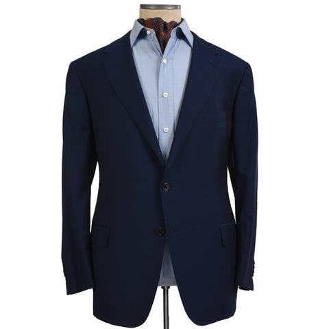 D'AVENZA Handmade Navy Blue Wool Mohair Blazer Jacket NEW
