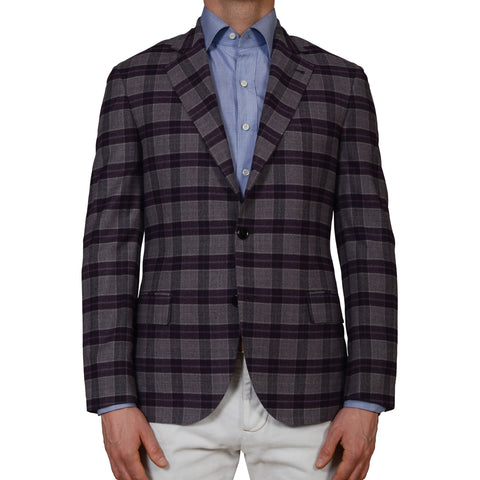 D'AVENZA Handmade Plaid Wool Flannel Blazer Jacket EU 50 NEW US 40