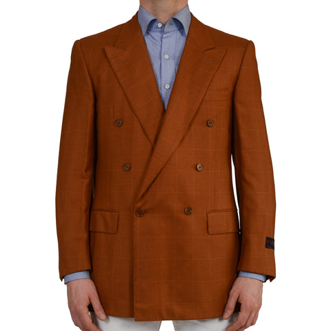 D'AVENZA Handmade Rust Plaid Cashmere-Silk DB Blazer Jacket EU 52 NEW US 42