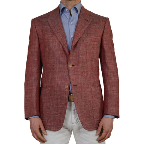 D'AVENZA Burgundy Wool-Silk -Linen-Mohair Blazer Jacket EU 52 NEW US 42