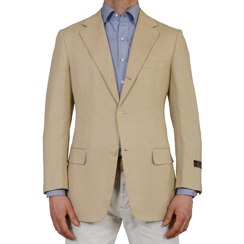 D'AVENZA Roma Beige Silk-Linen-Wool Super 150's Blazer Jacket EU 50 NEW US 40