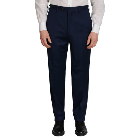 D'AVENZA Roma Blue Wool Flat Front Dress Pants NEW Classic Fit