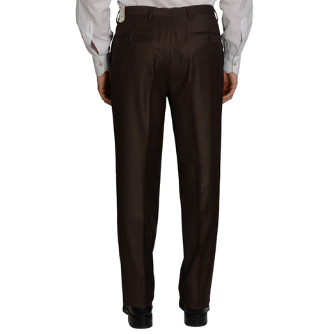D'AVENZA Roma Brown Wool Flat Front Dress Pants NEW Classic Fit