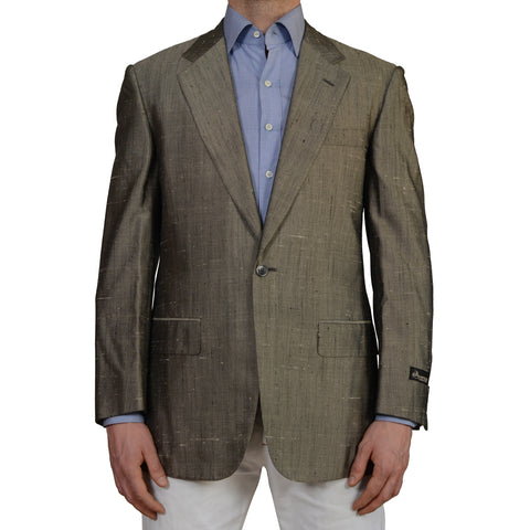 D'AVENZA Roma Gray Doppione Raw Silk 1 Button Blazer Jacket EU 50 NEW US 40