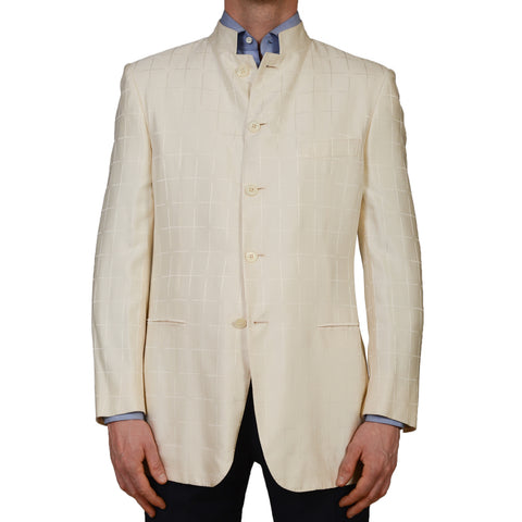 "D'AVENZA Roma ""Guru"" Cream Plaid Silk 5 Button Blazer Jacket EU 52 NEW US 42"