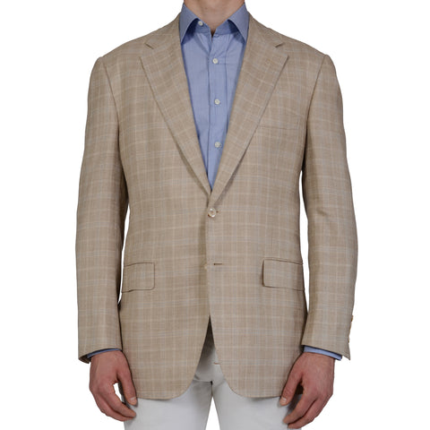 D'AVENZA Roma Handmade Beige Plaid Wool Silk Linen Blazer Jacket EU 56 NEW US 46