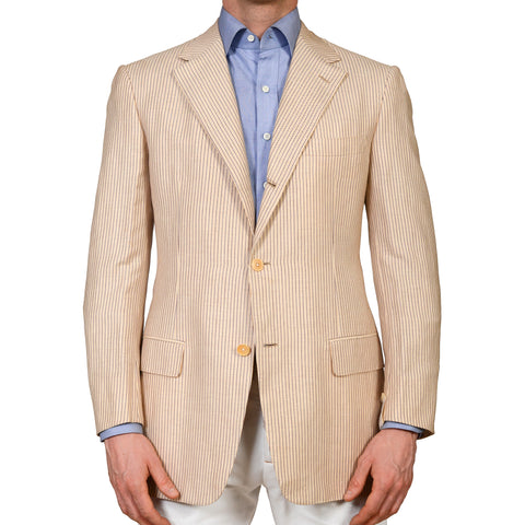 D'AVENZA Roma Handmade Beige Striped Linen Wool Cotton Jacket EU 50 NEW US 40