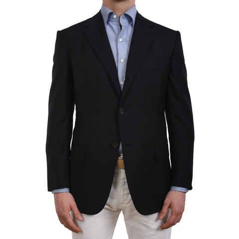 D'AVENZA Roma Handmade Black Wool Blazer Jacket EU 40 NEW US 50