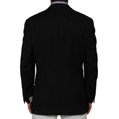 D'AVENZA Roma Handmade Black Wool Super 120's Blazer Jacket EU 52 NEW US 42