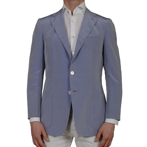 D'AVENZA Roma Handmade Blue Cotton-Silk Unlined Blazer Jacket EU 50 NEW US 40