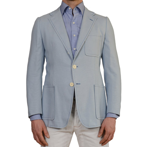 D'AVENZA Roma Handmade Blue Cotton Unlined Blazer Jacket EU 50 NEW US 40