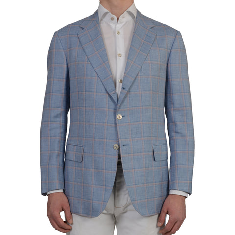 D'AVENZA Roma Handmade Blue Plaid Wool Silk Linen Blazer Jacket EU 56 NEW US 46
