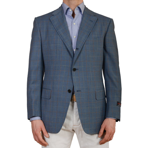 D'AVENZA Roma Handmade Blue Wool Super 130's Blazer Jacket EU 52 NEW US 42