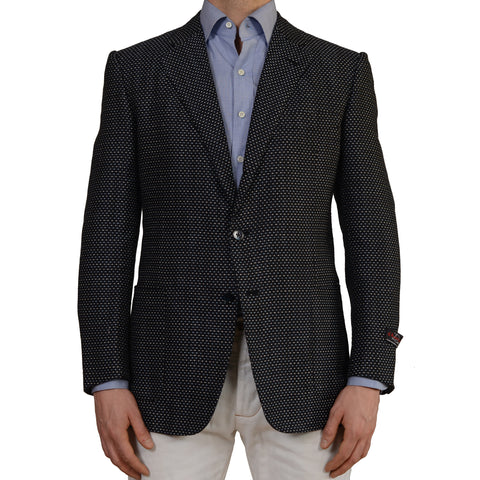 D'AVENZA Roma Handmade Blue Silk Linen Cotton Blazer Jacket EU 52 NEW US 42