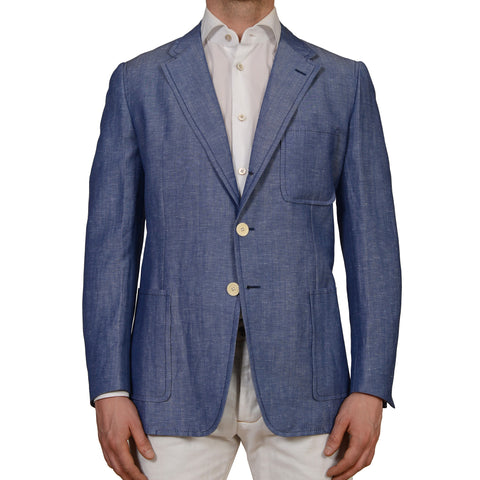 D'AVENZA Roma Handmade Blue Wool Linen Unlined Blazer Jacket EU 53 NEW US 43