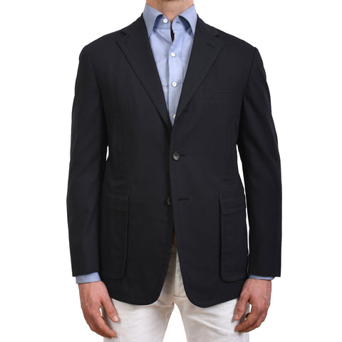 D'AVENZA Roma Handmade Blue Wool Unlined Blazer Jacket EU 50 NEW US 40