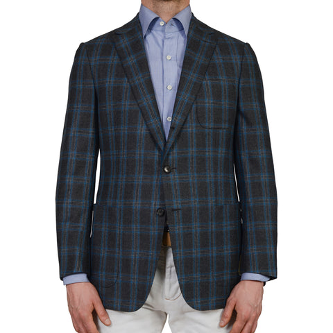 D'AVENZA Roma Handmade Gray Plaid Wool Flannel Blazer Jacket EU 50 NEW US 40