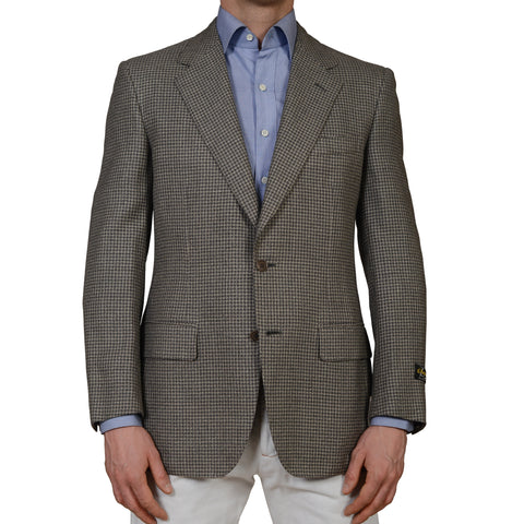D'AVENZA Roma Handmade Gray Plaid Wool Silk Blazer Jacket EU 50 NEW US 40