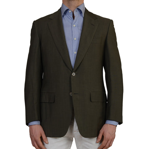 D'AVENZA Roma Handmade Green Wool Blazer Jacket EU 50 NEW US 40