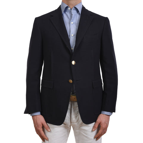 D'AVENZA Roma Handmade Navy Blue Cotton Jacket Sports Coat EU 50 NEW US 40