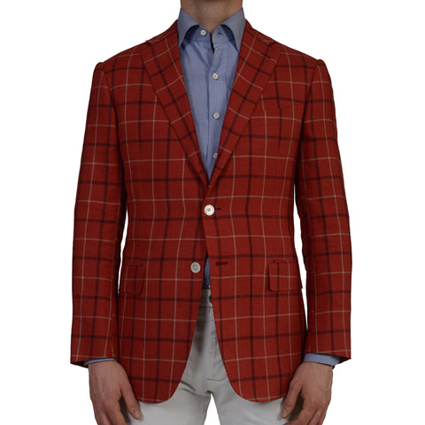 D'AVENZA Roma Handmade Red Plaid Linen Wool Blazer Jacket EU 50 NEW US 40