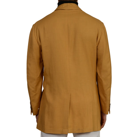 D'AVENZA Roma Tan Cashmere Linen Unlined Jacket Coat EU 50 NEW US M