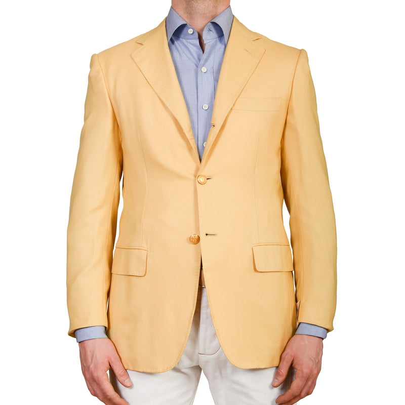 D'AVENZA Roma Handmade Yellow Cashmere Silk Blazer Jacket EU 48 NEW US 38