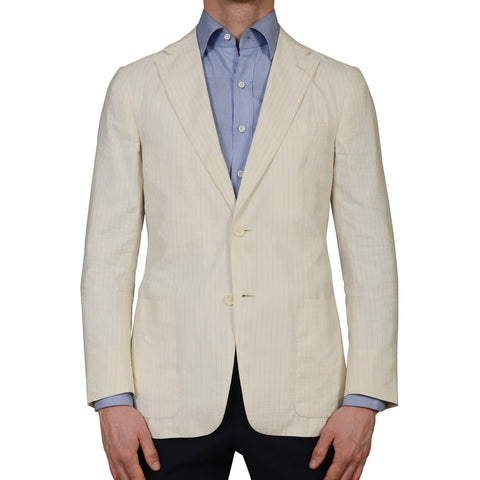 D'AVENZA Roma Ivory Striped Silk Blend Unlined Summer Blazer Jacket NEW