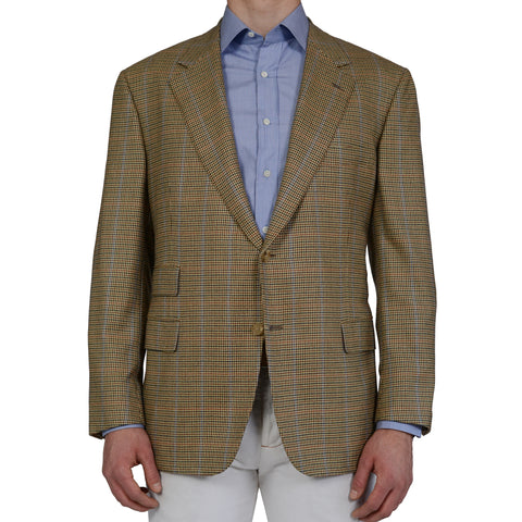 D'AVENZA Roma Multi-Color Gun Club Plaid Cashmere Blazer Jacket EU 56 NEW US 46