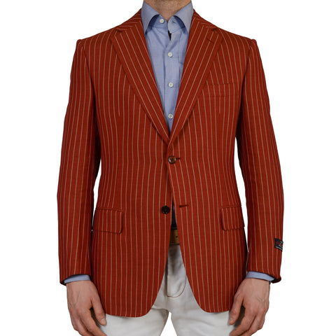 D'AVENZA Roma Red Striped Linen-Wool Super 120's Blazer Jacket EU 52 NEW US 42