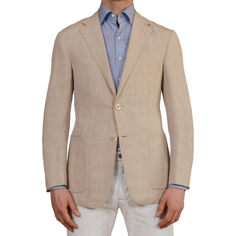 D'AVENZA Roma Sand Cotton Linen Unlined Blazer Jacket EU 38 NEW US 48