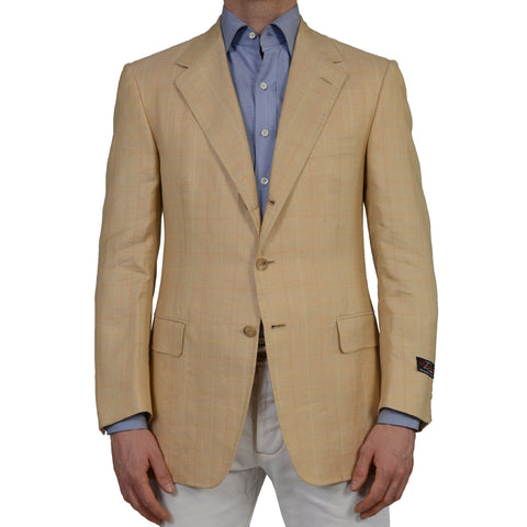 D'AVENZA Rome Beige Herringbone Plaid Linen Silk Blazer Jacket EU 50 NEW US 40