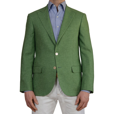 D'AVENZA Young Handmade Green Silk Cashmere Peak Lapel Jacket EU 48 NEW US 38