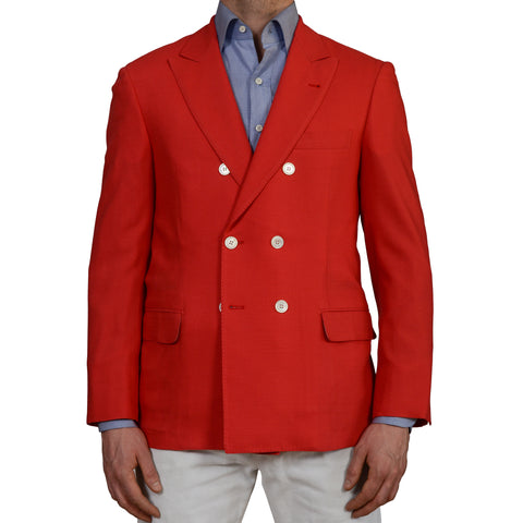"D'AVENZA ""Young"" Handmade Ferrari Red Wool DB Blazer Jacket EU 50 NEW US 40"