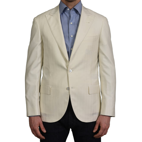 D'AVENZA Young Off-White Herringbone Silk Pashmina Peak Lapel Jacket 48 NEW 38