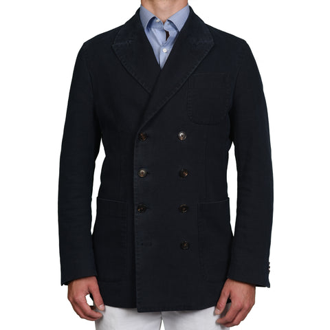 "LARUSMIANI MILANO Navy Blue ""Ice Cotton"" DB Pea Coat Jacket EU 54 US 44"