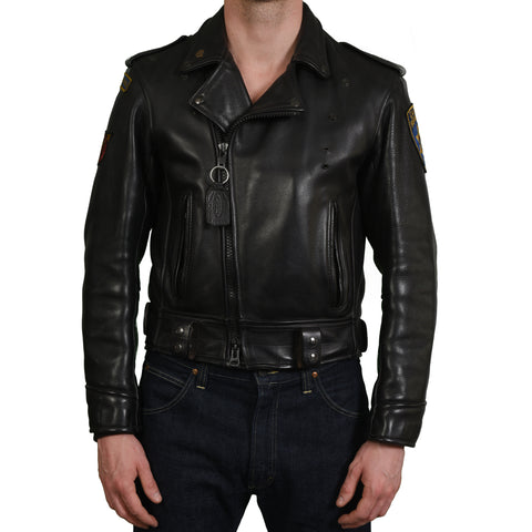 "VANSON ""Force"" HD Issued CHP Highway Patrol Black Leather Motorcycle Jacket"